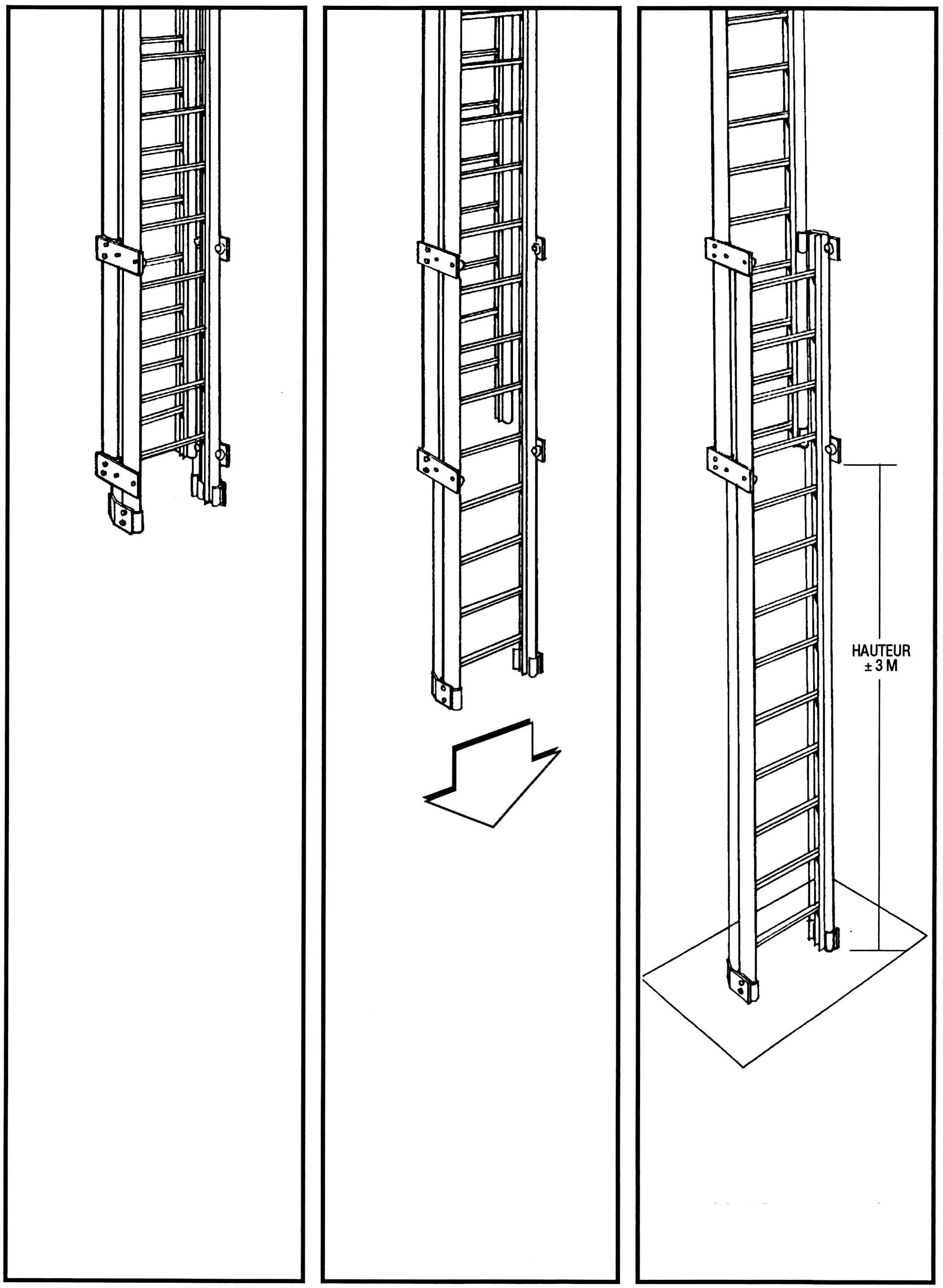 Drawing of a counterbalanced aluminum ladder